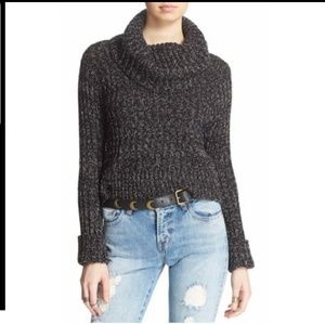 Free People Cowl Neck Sweater Black Retail$105